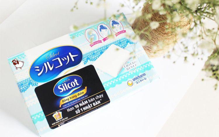 Bông tẩy trang Silcot màu xanh dương
