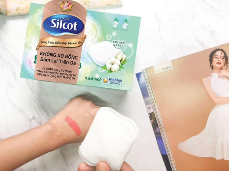 Bông tẩy trang Silcot màu xanh lá