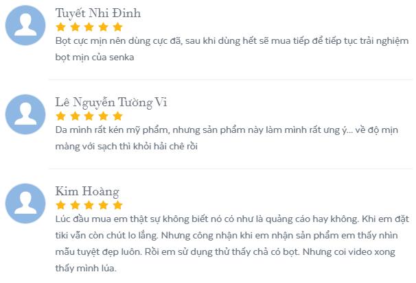 Những đánh giá tích cực của người dùng về Senka Perfect Whip