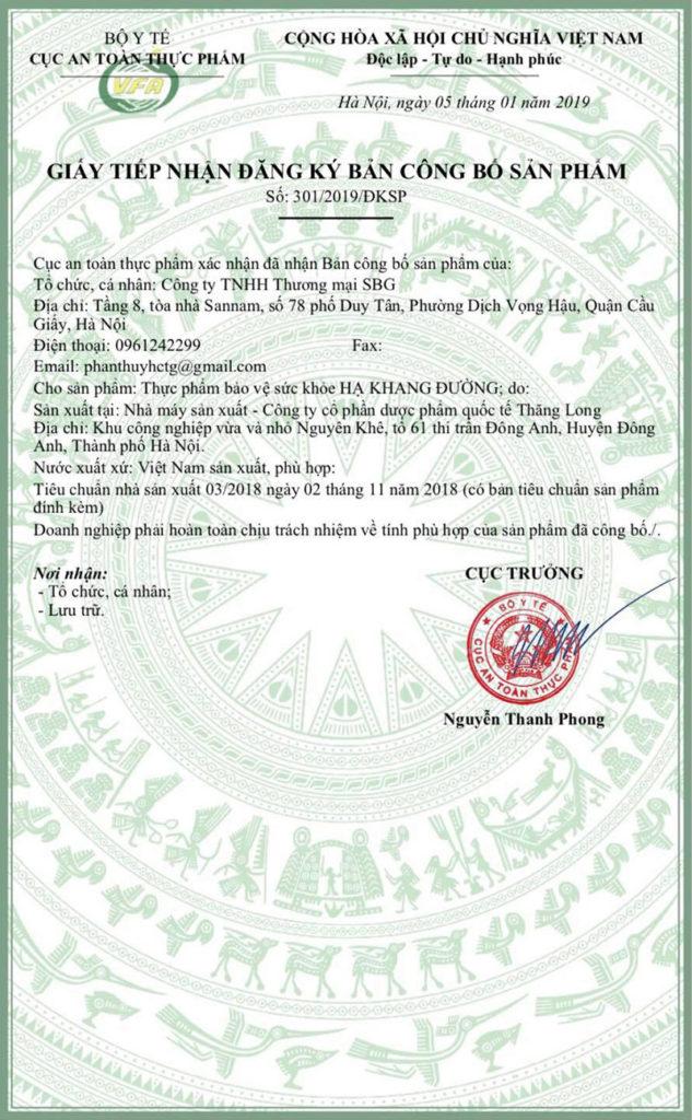 Giấy chứng nhận đạt chuẩn chất lượng do Bộ Y tế cấp cho Hạ Khang Đường