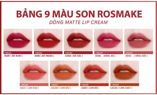 Bảng màu son Rosmake Matte Lip Cream