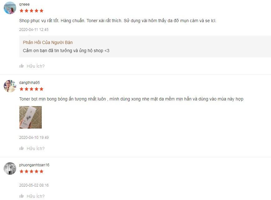 Một số phản hồi của khách hàng trên Shopee khi sử dụng toner gilaa