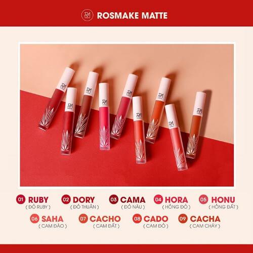 Son kem Rosmake Matte Lip Cream có 9 màu cực hot