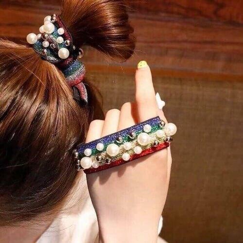 Một số kiểu dây chun buộc tóc ngọc trai