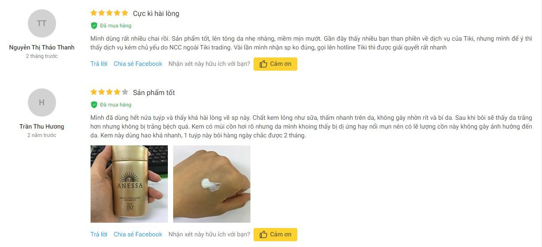 Vài đánh giá về sản phẩm chống nắng Anessa từ người dùng
