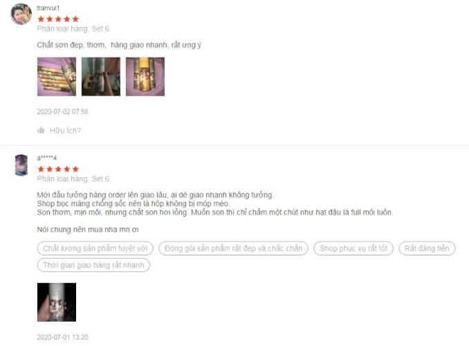 Một số phản hồi từ người dùng về son kem Vongee 5 cây và 6 cây (bản limited)