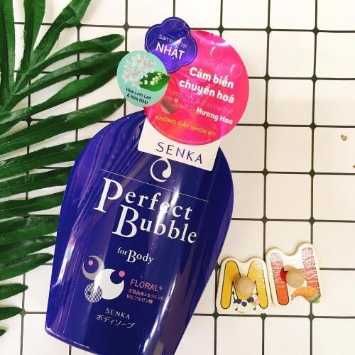 Sữa tắm tạo bọt senka perfect bubble màu xanh