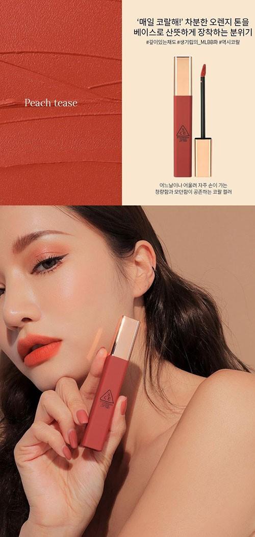 Màu Peach Tease của bảng màu son 3CE kem phù hợp với những cô nàng ưa phong cách makeup nhẹ nhàng, trong trẻo.