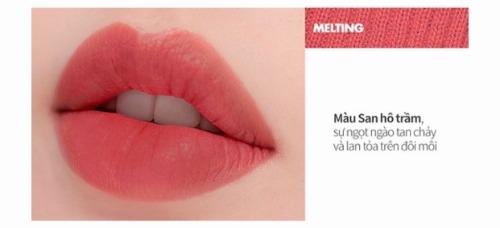 Màu Melting với sắc san hô ngả cam trong trẻo, thích hợp cho những cô nàng theo đuổi lối makeup Hàn Quốc.