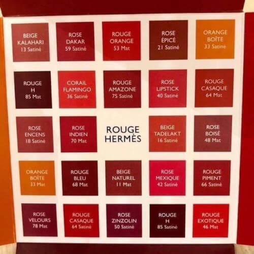Tổng quan 24 màu son thuộc bảng màu son Rouge Hermès.