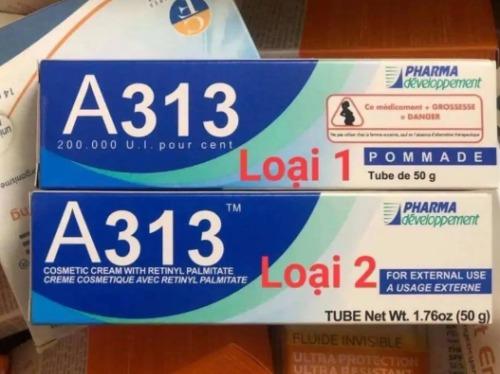 Hai phiên bản nội địa và Quốc tế của kem dưỡng A313.