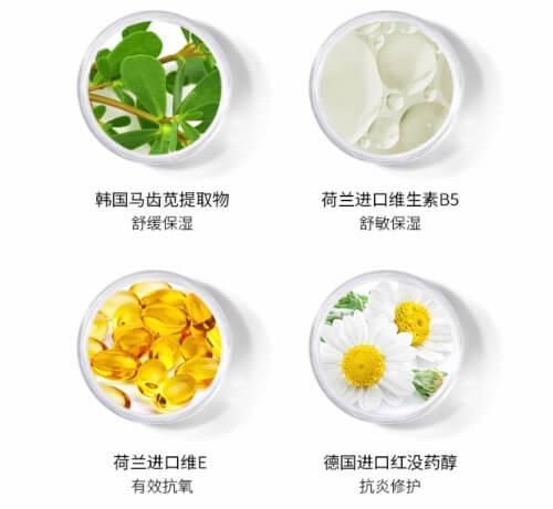 Thành phần chính trong kem chống nắng Lucenbase là chiết xuất rau sam.