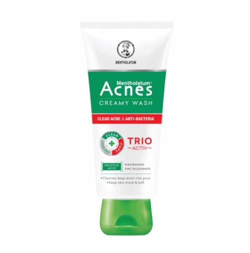 Công thức tác động Trio-Activ được ứng dụng trong sữa rửa mặt Acnes giúp làm sạch sâu, dưỡng da mịn màng.