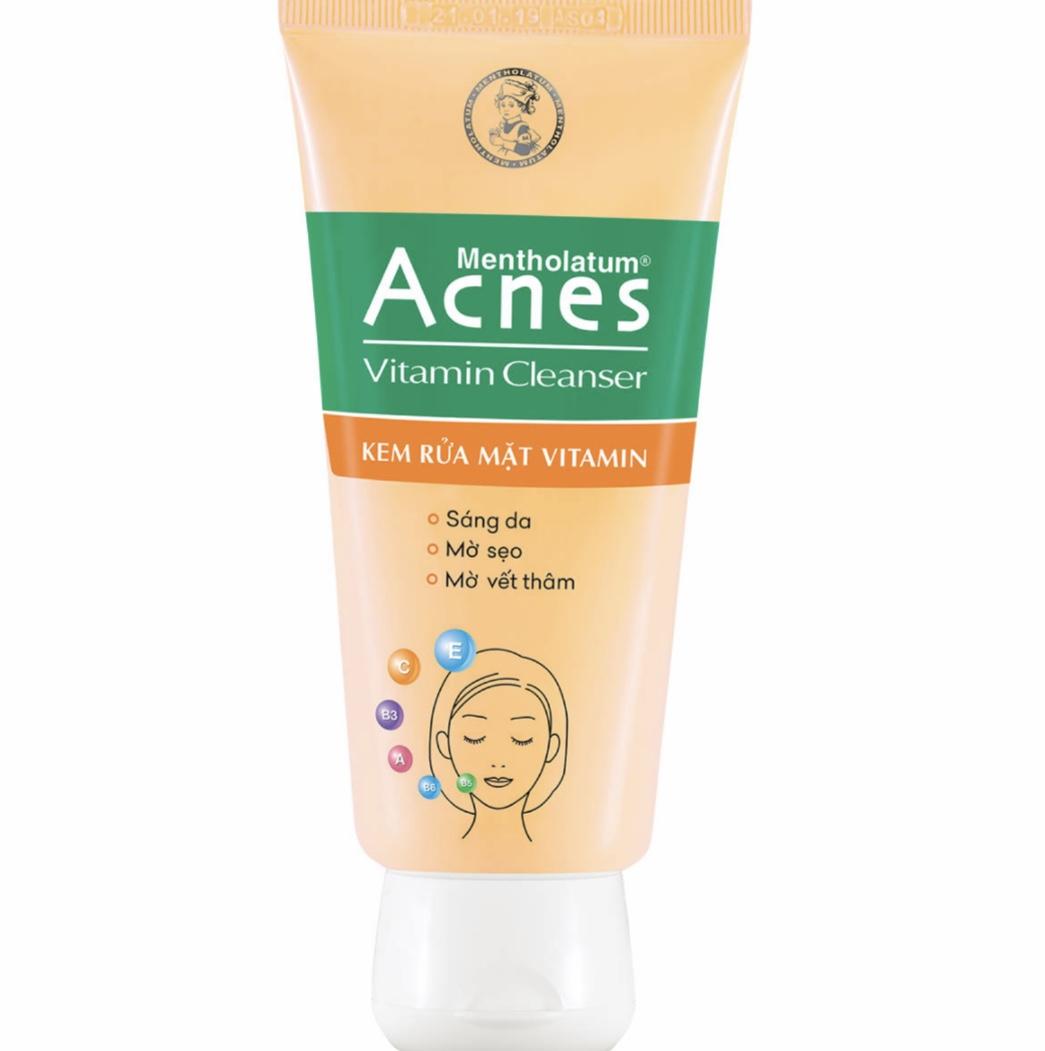 Tập hợp nhiều loại vitamin tốt, Acnes Vitamin là tuýp sữa rửa mặt trị thâm, làm sáng da hiệu quả.