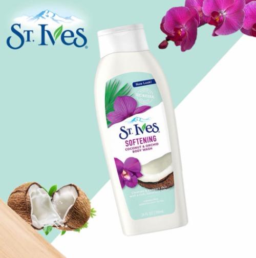 Sữa tắm dưỡng ẩm St.ives với chiết xuất hoa lan và sữa dừa.