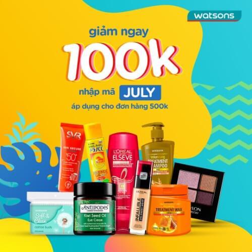 Mã July giảm 100k cho đơn hàng từ 500k