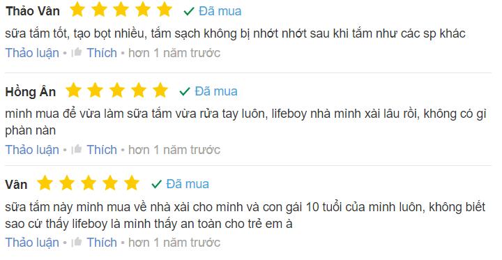 Review sữa tắm Lifebuoy từ một số người dùng