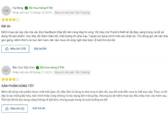 Đánh giá của người dùng trên Tiki.vn
