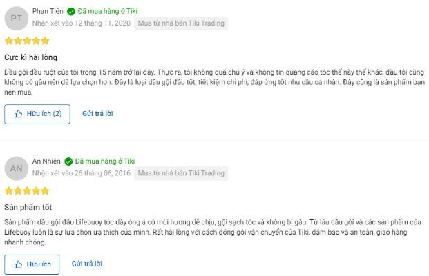 Một vài nhận xét của người dùng trên Tiki.vn về sản phẩm