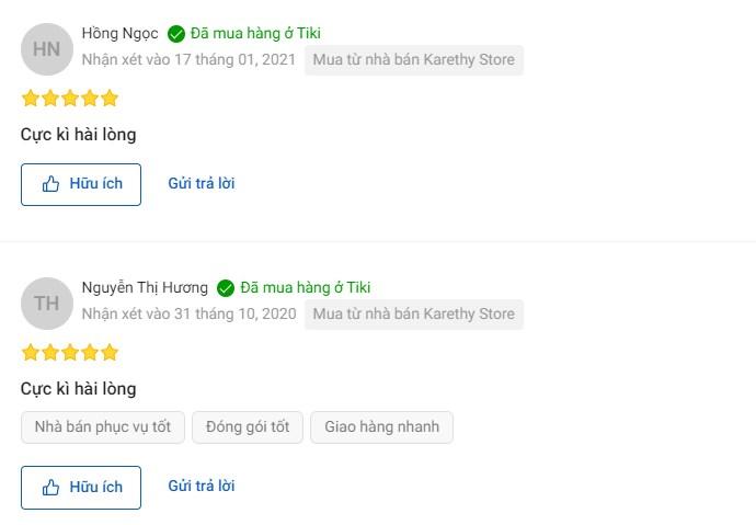 Sản phẩm nhận được nhiều phản hồi tích cực từ người dùng trên Tiki