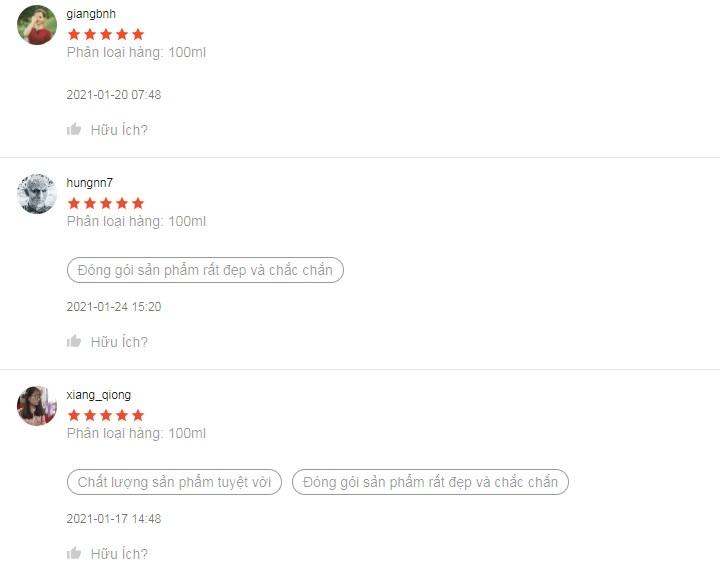 Sản phẩm nhận nhiều đánh giá 5 sao từ người dùng