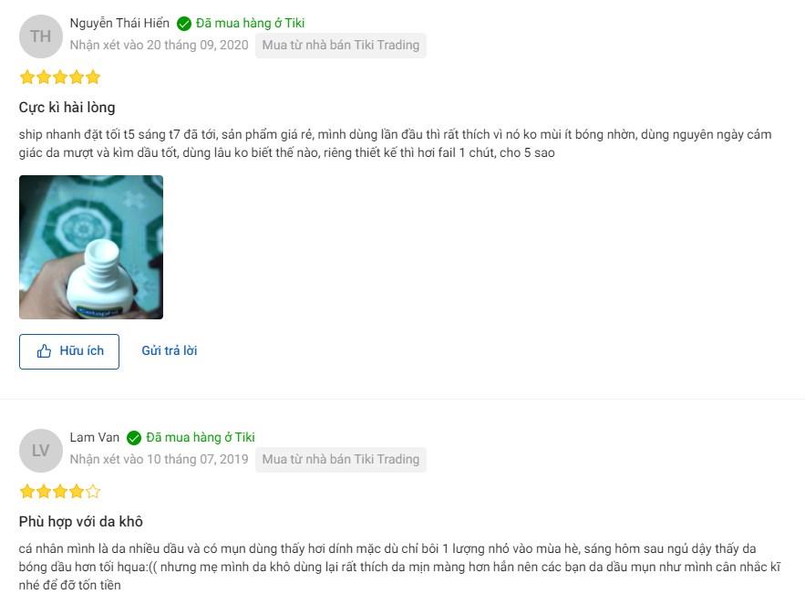 Một số phản hồi chân thực của chị ems au khi dùng Moisturizing Lotion