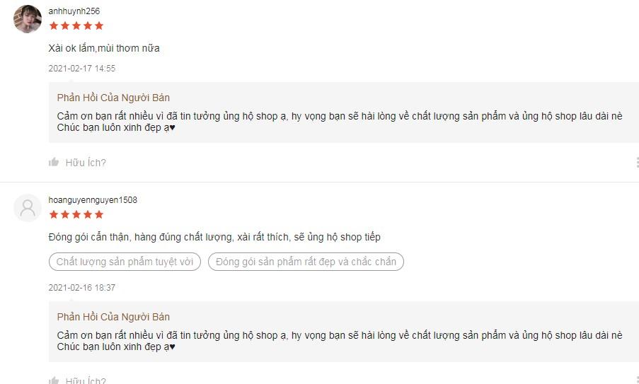 Một số phản hồi của chị em sau khi sử dụng dung dịch Hana Soft Silk