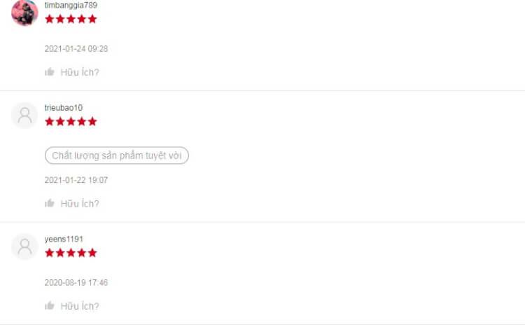 Một số đánh giá từ người dùng trên Shopee