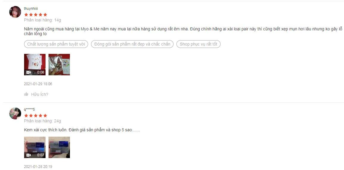 Một số đánh giá chân thực từ những người dùng trên Shopee