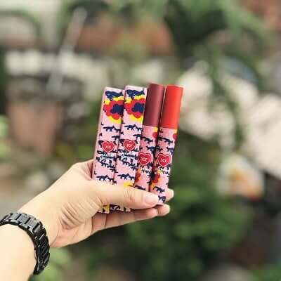 Son 3CE Maison Kitsune Velvet Lip Tint có bao bì đáng yêu
