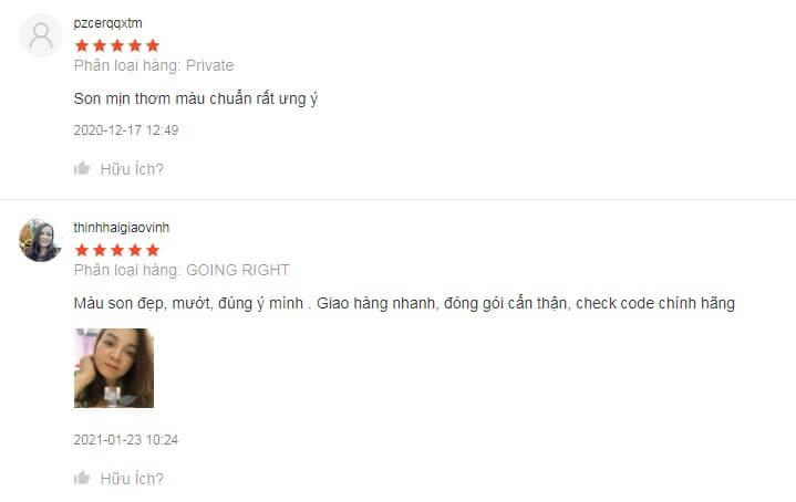 Một số đánh giá của người dùng sau khi dùng son môi 3CE Velvet Lip Tint