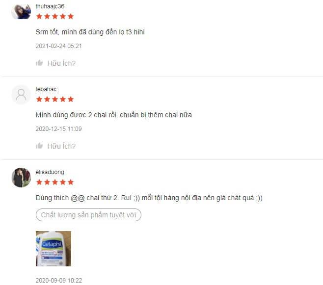 Một số phản hồi của chị em trên Shopee sau khi dùng qua em này
