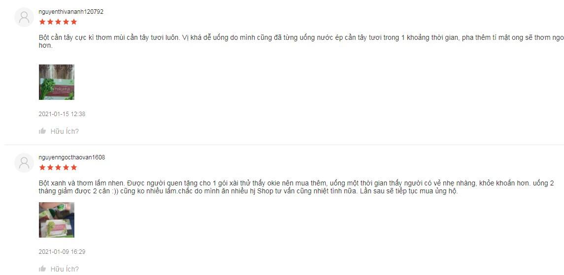 Review từ khách hàng trên Shopee sau khi dùng cần tây Sitokata