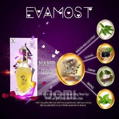 Bảng thành phần nước rửa phụ khoa Evamost.